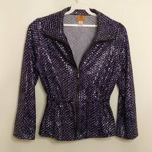 Sequin All Weather Blue & Black Jacket Size 10